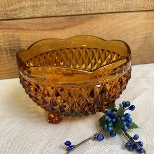 Indiana Glass Amber Diamond Point 3 Toed Bowl